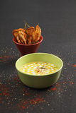 Pumpkin soup with shrimps and coconut sauce Royalty Free Stock Images