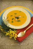 Pumpkin soup on silver plate. Sweet and creamy pumpkin soup in colorful display Stock Photo