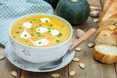 Pumpkin soup with sour cream Royalty Free Stock Images