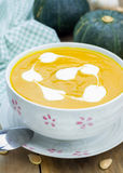 Pumpkin soup with sour cream Stock Photo