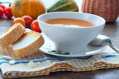Pumpkin soup with toasts, lunch Royalty Free Stock Photo