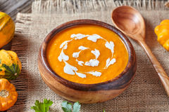 Pumpkin soup traditional spicy vegetarian autumn vegetable healthy organic diet creamy homemade food Stock Photography