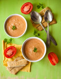 Pumpkin soup with vegetables. And bread Stock Image