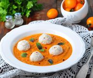 Pumpkin soup with vegetables and turkey meatballs Royalty Free Stock Image