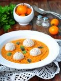 Pumpkin soup with vegetables and turkey meatballs Stock Photo