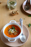 Pumpkin soup with walnuts and cheese Stock Photos