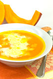 Pumpkin soup with whipped cream Royalty Free Stock Photos