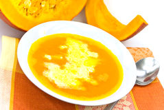 Pumpkin soup with whipped cream Royalty Free Stock Images