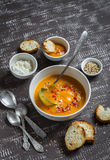 Pumpkin soup in a white bowl Royalty Free Stock Images