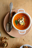Pumpkin soup in a white tureen Royalty Free Stock Photography