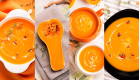 Pumpkin soups photo collage Royalty Free Stock Images