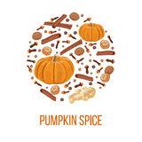 Pumpkin spice on bauble shape. Thanksgiving Royalty Free Stock Images