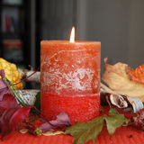 Pumpkin Spice Candle Burning stock photo
