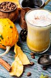 Pumpkin spice coffee. With whipped cream.Autumn coffee.Coffee drink Stock Image