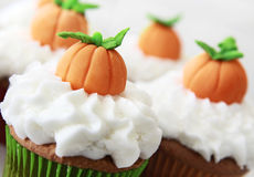 Pumpkin spice cupcakes Stock Photos