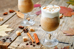Pumpkin spice frappuccino with whipped cream Stock Images