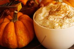 Pumpkin spice latte for halloween and thanksgiving. Fall season dring royalty free stock photography