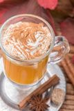 Pumpkin spice latte smoothie with whipped cream Stock Photo