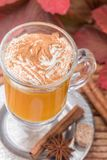 Pumpkin spice latte smoothie with whipped cream Royalty Free Stock Images