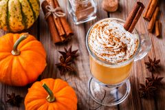 Pumpkin spice latte with whipped cream stock images
