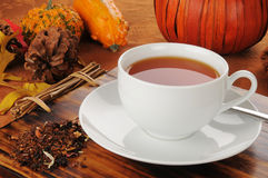 Pumpkin spice rooibos tea. A cup of hot pumpkin spice rooibos tea, a perfect holiday treat Stock Photos
