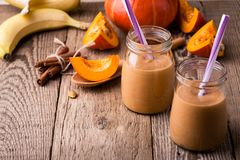 Pumpkin smoothie with yoghurt and bananas Royalty Free Stock Image