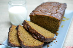 Pumpkin spiced cake with milk royalty free stock image