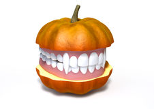 Pumpkin Split With Vampire Teeth Stock Photos
