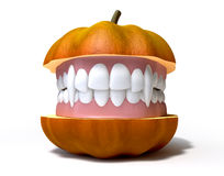 Pumpkin Split With Vampire Teeth Royalty Free Stock Photography