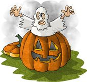 Pumpkin Spook. This illustration that I created depicts a boy in a ghost costume popping out of a large pumpkin Royalty Free Stock Photo