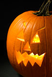 Pumpkin: Spooky Jack-O-Lantern On Black Background Stock Image
