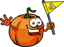 Pumpkin sports fan with flag Royalty Free Stock Photo