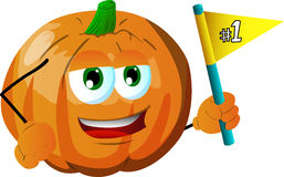 Pumpkin sports fan with flag Royalty Free Stock Images