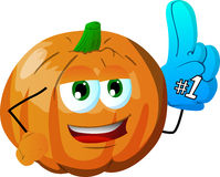Pumpkin sports fan with glove Stock Images