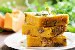 Pumpkin squares with nuts royalty free stock image