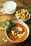 Pumpkin squash cream soup Royalty Free Stock Photos