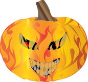 Pyro Pumpkin. Pumpkin with stem, demon with  evil red eyes  and pointy teeth, engulfed by fire Royalty Free Stock Images