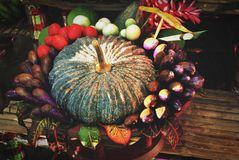 Pumpkin still life. Pumpkin on table still life vintage Royalty Free Stock Photo