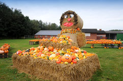 Pumpkin straw bales Royalty Free Stock Photography