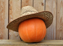 Pumpkin in straw hat Stock Photo