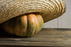 Pumpkin in straw hat Royalty Free Stock Photography