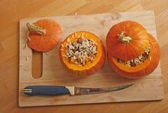 Pumpkin stuffed with rice Stock Photo