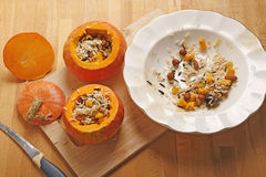 Pumpkin stuffed with rice Stock Photography