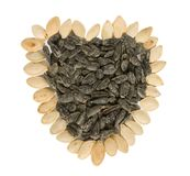 Pumpkin and sunflower seeds Royalty Free Stock Images