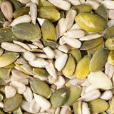 Pumpkin and sunflower seeds Royalty Free Stock Photo