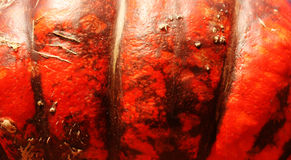Pumpkin surface. Detail of plastic texture on orange pumpkin Stock Photography