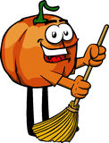 Pumpkin sweeping with broom Stock Photo