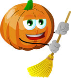 Pumpkin sweeping with broom Stock Photography