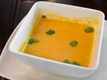 Pumpkin sweet potato and carrot soup Stock Images
