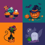 Pumpkin, Sweets and Cat Halloween Vector Stock Photography